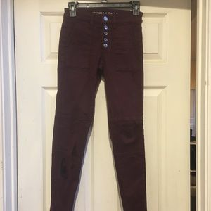 American Eagle Skinny Jeans maroon
